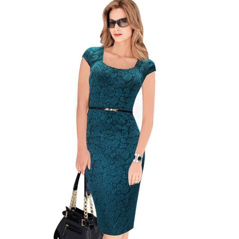 Vfemage Women Belted Elegant Floral Print Check Cap Sleeve Tunic Work Business Casual Party Pencil Sheath Wiggle Dress 288 - Hespirides Gifts - 1