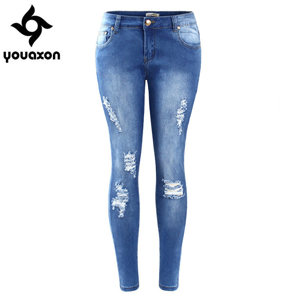 Women Low Waist Ultra Stretch Torn Skinny Washed Denim Jean Ripped Jeans Woman (Blue) (Jeans Size In Inches 26-33) youaxon - Hespirides Gifts - 9