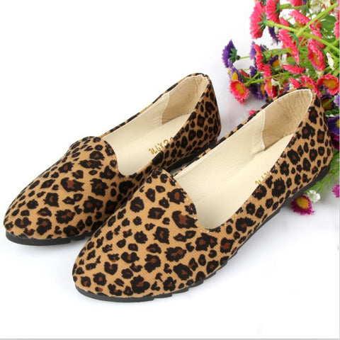 New Shallow Pointed Toe Spring Shoes Fashion Leopard Soft Cloth Comfortable Single Shoes Women Casual FLats - Hespirides Gifts - 1