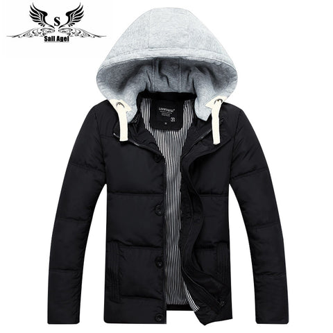 mens winter warm downs jacket brand Thick cotton hat can be men down parka coat black Outdoor fashion sport hooded - Hespirides Gifts - 1
