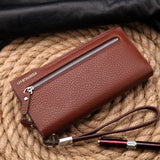 Hot New Brand Design zipper Fashion black genuine leather men wallets long casual brown - Hespirides Gifts - 11