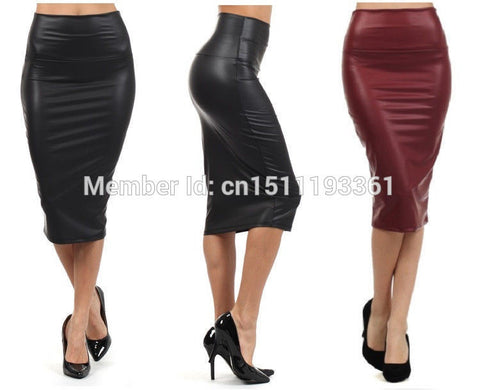 plus size high-waist faux leather pencil skirt black skirt 9 colors S/M/L/XL - Hespirides Gifts - 1