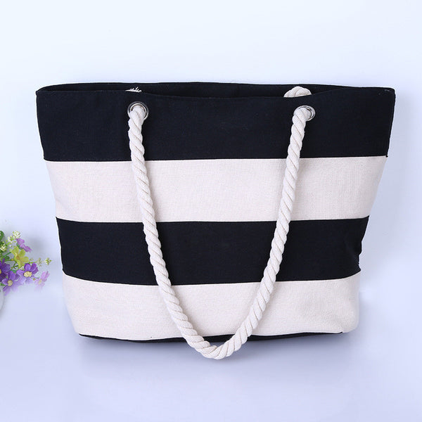 Women Beach Canvas Bag Fashion Color Stripes Printing Handbags Ladies Large Shoulder Bag Totes Casual Bolsa Shopping Bags - Hespirides Gifts - 5