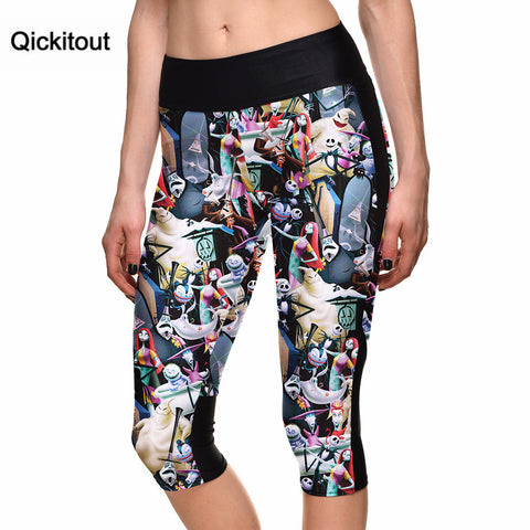 Wholesales Sexy women's 7 point pants Cartoon Animation digital print women high waist Side pocket phone pants