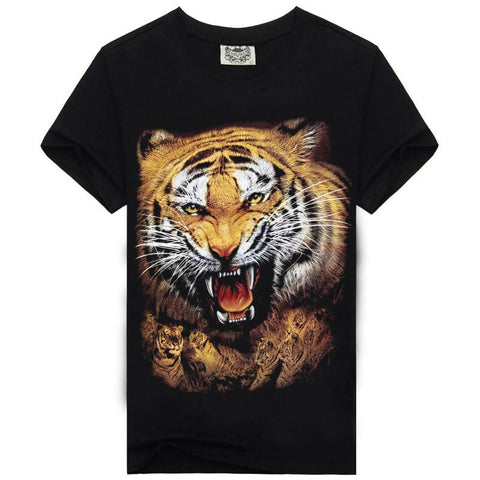 Hot Sale New Fashion Brand Mens Short Sleeve T Shirt Summer Domineering Tiger 3D T Shirt Men Slim Fit Mens Casual Tee Shirt - Hespirides Gifts - 1
