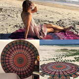 Indian Yoga Blankets Round Mandala Tapestry Wall Hanging Throw Towel Beach Yoga Mat - Hespirides Gifts - 6