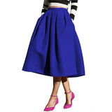 Sheinside Female Fashion Street Style Women's Solid Casual Flare High Waist Pleated Pockets Vintage Midi Skirt - Hespirides Gifts - 5