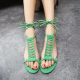 Summer Style Gladiator Sandals Woman Cross-tied sandalias Women Boots Sexy Ankle Strap Sandal Cut outs Flat Shoes - Hespirides Gifts - 17