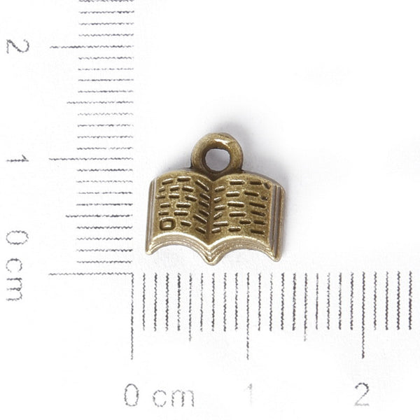 Mixed Bronze Plated Book Letter Dairy Charms Pendants for Jewelry - Hespirides Gifts - 6