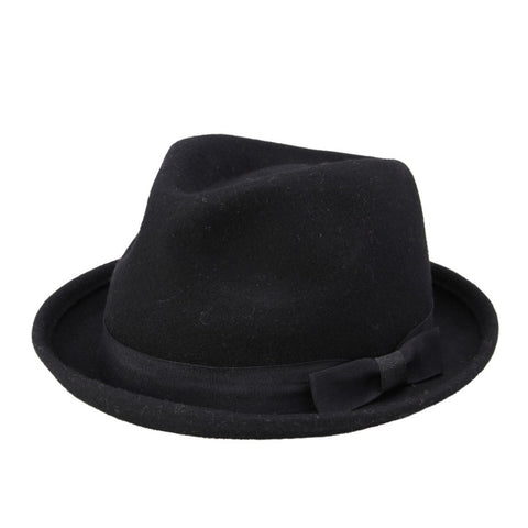 Men Women 100% Wool VTG Black Style Felt Trilby Hat BNWT/NEW Gangster Fedora hat - Hespirides Gifts - 1