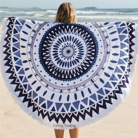 Mandala Round Tassel Tapestry Indian Ombre Beach Towel Blanket Yoga Mat - Hespirides Gifts - 1