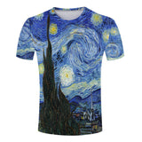 Summer Classic Oil Painting Men/Women's 3D T-shirts Vincent Van Gogh Starry Night - Hespirides Gifts - 1