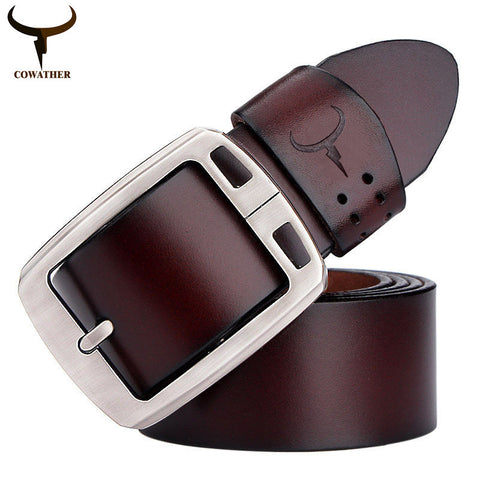COWATHER 100% cowhide genuine leather belts for men brand Strap male pin buckle fancy vintage jeans cintos XF001 - Hespirides Gifts - 1