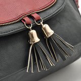 british style famous brand ladies leather black/red handbags retro vintage tassel messenger bags women's shoulder satchels - Hespirides Gifts - 3