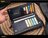 Hot New Brand Design zipper Fashion black genuine leather men wallets long casual brown - Hespirides Gifts - 9
