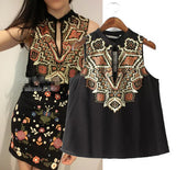 New Women Z&Y Ethnic Retro Geomtric Print Sleeveless vintage Shirt Hollow out O-neck Pullover Cotton Blouse Tank Tops Black - Hespirides Gifts - 6