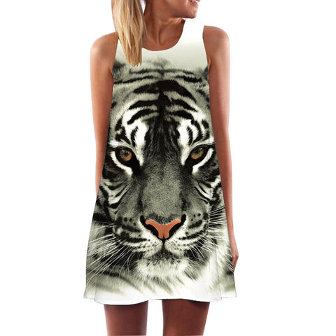 female Tank Top Fashion 3D Tiger Printed Loose Cotton T-shirts for Women Long Tops - Hespirides Gifts