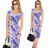 Vfemage Women Belted Elegant Floral Print Check Cap Sleeve Tunic Work Business Casual Party Pencil Sheath Wiggle Dress 288 - Hespirides Gifts - 8