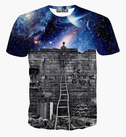 New Europe and American Men/boy T-shirt 3d fashion print A person watching meteor - Hespirides Gifts - 1