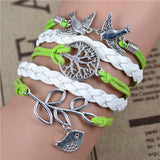 New Mix Infinity Love Leather Love Owl Leaf Charm Handmade Bracelet Bangles - Hespirides Gifts - 17