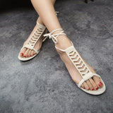 Summer Style Gladiator Sandals Woman Cross-tied sandalias Women Boots Sexy Ankle Strap Sandal Cut outs Flat Shoes - Hespirides Gifts - 11