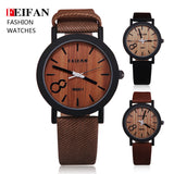Simulation Wooden Relojes Quartz Men Watches Casual Wooden Color Leather Strap Watch Wood Male Wristwatch Relogio Masculino - The Fire Pits Store  - 1