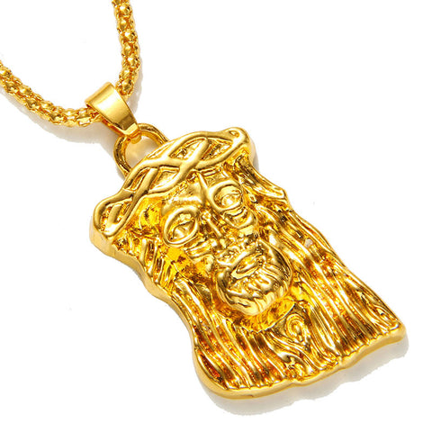 Hot gold filled jesus piece pendant necklace for men women hip hop jewelry gold chunky - Hespirides Gifts - 1