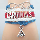 Infinity Love Cardinals baseball College Team Bracelet blue white red Customized Wristband friendship Bracelets B09327 - Hespirides Gifts - 1