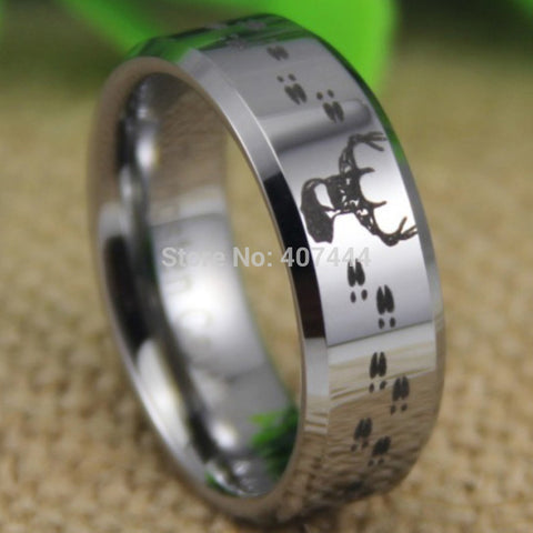 USA UK Canada Russia Brazil Hot Sales 8MM Hunting Buck&Deer Tracks Silver Beveled Lord Men's Tungsten Wedding Ring - Hespirides Gifts - 1
