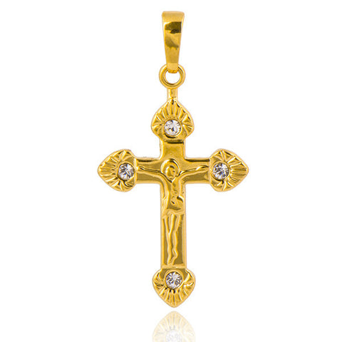 Classic 18K Yellow Gold Plated Clear CZ Unisex Cross Cubic Zirconia - Hespirides Gifts