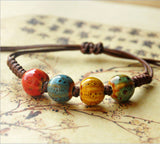 Fashion Ethnic Style High Quality Original Ceramic Bronze Adjustable Handmade Porcelain Beads Rope Bracelets For Women he005 - Hespirides Gifts - 6