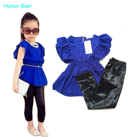 Humor Bear girls clothes fashion summer children girls clothing sets blue shirt dress + black leggings cool baby kids 2pcs suits - The Fire Pits Store  - 1