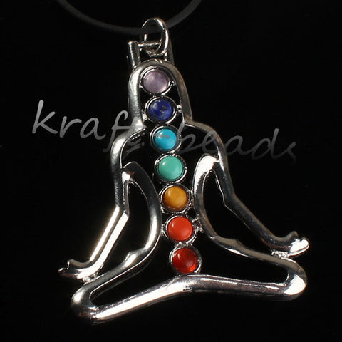 Charm Silver Plated 7 stone Beads Inner Peace Beads Buddha Yoga Meditation - Hespirides Gifts