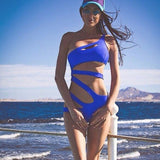 Summer Sexy Hollow Out Women Bandage One Piece Swimsuit Solid Color Bathing - Hespirides Gifts - 12
