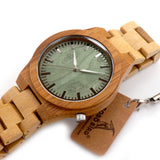 Bobobird M006 Mens Top Brand Design Green Wood Dial Full Bamboo Wooden Quartz Watches Japan 2035 Miyota Movement - Hespirides Gifts - 2