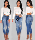 Women Low Waist Ultra Stretch Torn Skinny Washed Denim Jean Ripped Jeans Woman (Blue) (Jeans Size In Inches 26-33) youaxon - Hespirides Gifts - 10