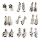 Wow Fashion Mixed Tibetan Silver Plated Music Note Guitar Trumpet - Hespirides Gifts - 1
