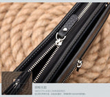 Hot New Brand Design zipper Fashion black genuine leather men wallets long casual brown - Hespirides Gifts - 2