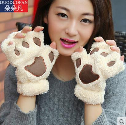 Fluffy Bear/Cat Plush Paw/Claw Glove Novelty Halloween Soft Toweling Half Covered Women's Gloves Mittens - Hespirides Gifts - 1