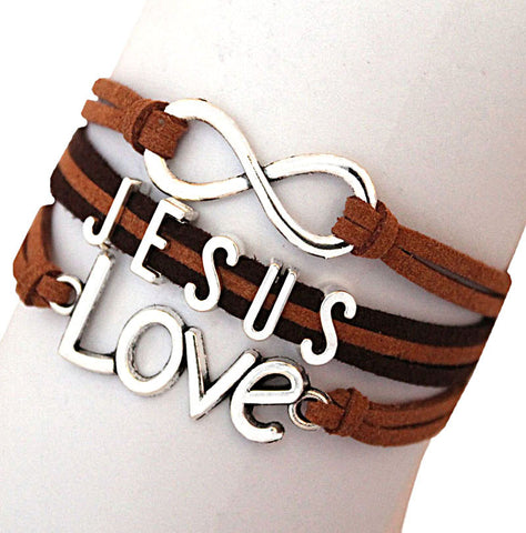 Infinity Bracelets JESUS silver Multi Layer Bracelets Leather JESUS LOVE - Hespirides Gifts