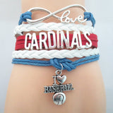 Infinity Love Cardinals baseball College Team Bracelet blue white red Customized Wristband friendship Bracelets B09327 - Hespirides Gifts - 3