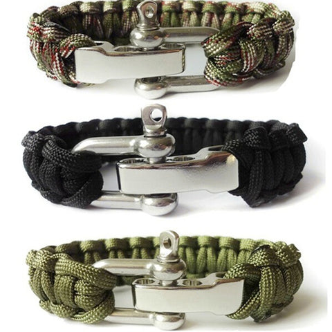 Paracord Survival Bracelet Men Camping Outdoor Woven Parachute Shackle Pin Buckle - Hespirides Gifts - 1