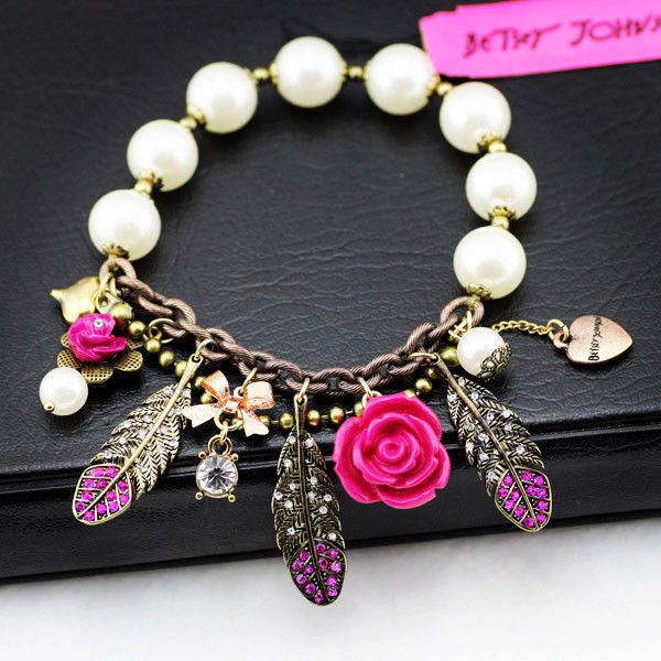 fashion bracelet for women hot selling Crystal Feather Flower Pendant White Beads Stretch Bracelet girl love best - Hespirides Gifts - 1