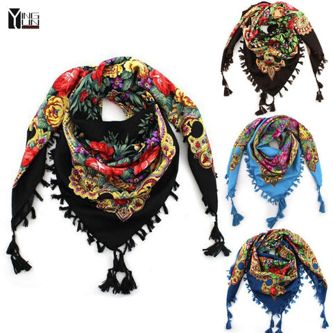 New Fashion Ladies Big Square Scarf Printed Women Brand Wraps Hot-Sale Winter ladies Scarves cotton india floural headband - Hespirides Gifts - 1