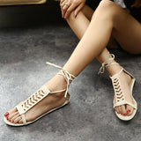 Summer Style Gladiator Sandals Woman Cross-tied sandalias Women Boots Sexy Ankle Strap Sandal Cut outs Flat Shoes - Hespirides Gifts - 6