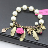 fashion bracelet for women hot selling Crystal Feather Flower Pendant White Beads Stretch Bracelet girl love best - Hespirides Gifts - 2