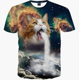 New Fashion Space/Galaxy men brand t-shirt funny print super power cat Jetting water 3D - Hespirides Gifts - 1