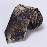 "TF2013D7 Gold Navy Blue Paisley 2.75"" 100%Silk Woven Slim Skinny Narrow Men Tie Necktie Handkerchief Pocket Square Suit Set - Hespirides Gifts - 4"