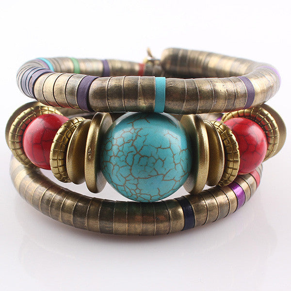 Hot Jewelry Tibetan Antique Bronze Snake Bracelet Resin Turquoise Inlay Roundness Bead Flexible Bracelet Bangles JJAL B377 - Hespirides Gifts - 4