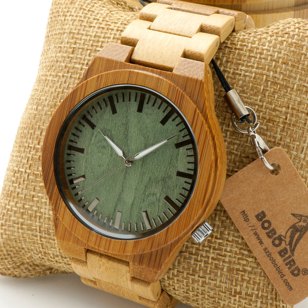 Bobobird M006 Mens Top Brand Design Green Wood Dial Full Bamboo Wooden Quartz Watches Japan 2035 Miyota Movement - Hespirides Gifts - 1
